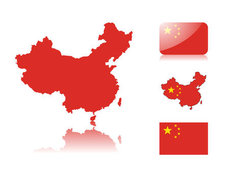 chinese map: Chinese map including: map with reflection, map in flag colors, glossy and normal flag of China.