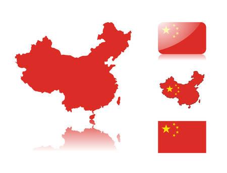 mapa china: Mapa de China incluyendo: mapa con el mapa de colores de la bandera, la reflexi�n, la bandera de brillante y normal de China.
