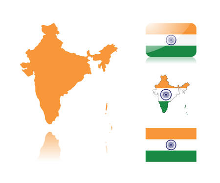 Indian map including: map with reflection, map in flag colors, glossy and normal flag of India. Vector