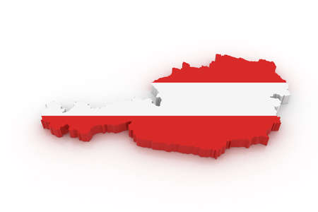 Three dimensional map of Austria in Austrian flag colors. Stock Photo