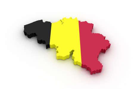 Drie dimensionale kaart van België in Belgische vlag kleuren. Stockfoto