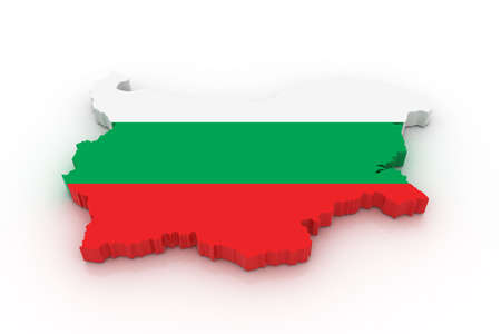 three dimensional shape: Three dimensional map of Bulgaria in Bulgarian flag colors.