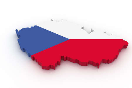 Three dimensional map of Czech republic in Czech flag colors. Stock Photo