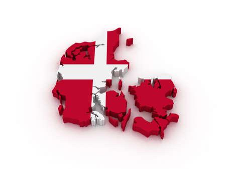 Three dimensional map of Denmark in Danish flag colors.