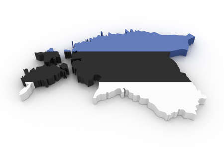 estonia: Three dimensional map of Estonia in Estonian flag colors.