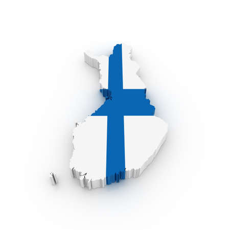 finland flag: Three dimensional map of Finland in Finish flag colors. Stock Photo