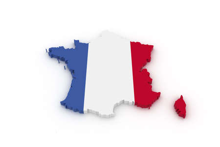 europeans: Three dimensional map of France in French flag colors. Stock Photo