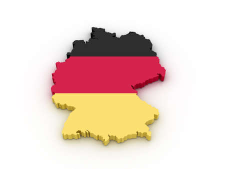 Three dimensional map of Germany in German flag colors.