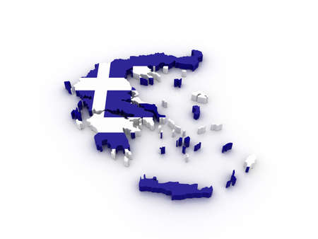 Three dimensional map of Greece in Greek flag colors.