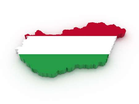 hungarian: Three dimensional map of Hungary in Hungarian flag colors.