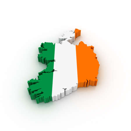 Three dimensional map of Ireland in Irish flag colors. photo