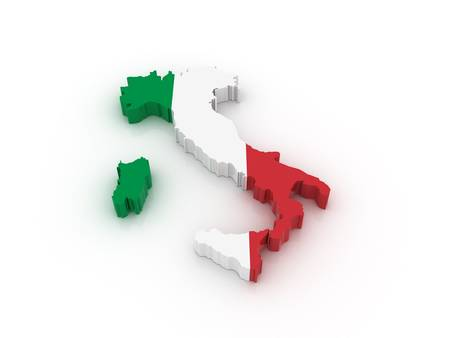 Three dimensional map of Italy in Italian flag colors.