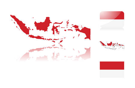 Indonesian map including: map with reflection, map in flag colors, glossy and normal flag of Indonesia.