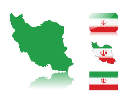 iranian: Iranian map including: map with reflection, map in flag colors, glossy and normal flag of Iran.