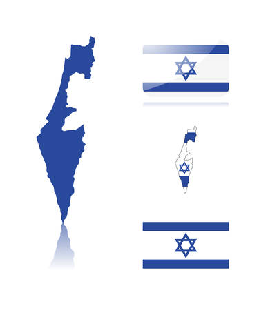 Israeli map including: map with reflection, map in flag colors, glossy and normal flag of Israel. Illustration