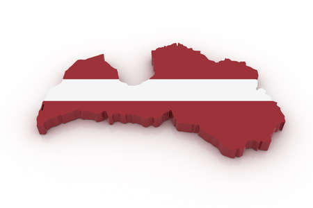 Three dimensional map of Latvia in Latvian flag colors.