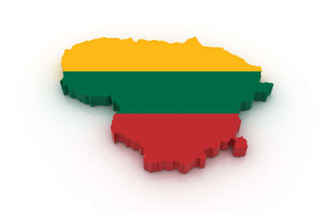 lithuania flag: Three dimensional map of Lithuania in Lithuanian flag colors. Stock Photo