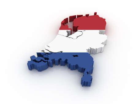drapeau hollande: Trois dimensions carte des pays-bas en couleurs du drapeau n�erlandais. Banque d'images