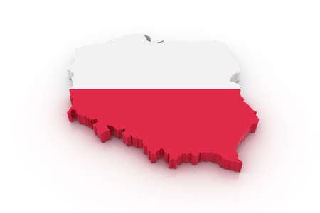 poland: Three dimensional map of Poland in Polish flag colors.