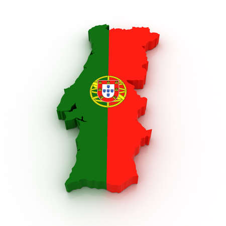 Three dimensional map of Portugal in Portuguese flag colors.