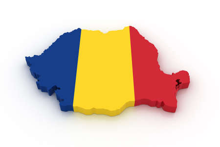 romania: Three dimensional map of Romania in Romanian flag colors. Stock Photo