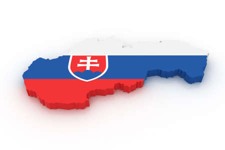 slovak: Three dimensional map of Slovakia in Slovak flag colors.