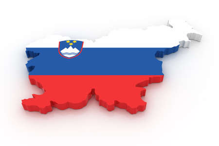 Three dimensional map of Slovenia in Slovenian flag colors. photo