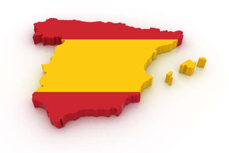 Three dimensional map of Spain in Spanish flag colors. Stock Photo