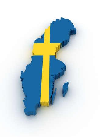 Drie dimensionale kaart van Zweden in de Zweedse vlag kleuren. Stockfoto