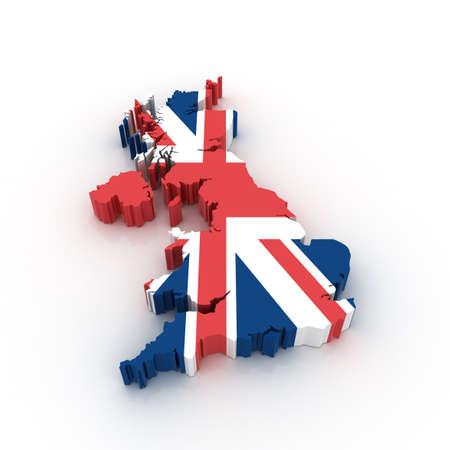 three dimensional: Three dimensional map of United Kingdom in British flag colors.