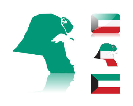 Kuwaiti map including: map with reflection, map in flag colors, glossy and normal flag of Kuwait. Vector