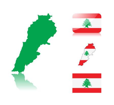 Mapa libanés incluyendo: mapa con el mapa de colores de la bandera, la reflexión, la bandera brillante y normal del Líbano.