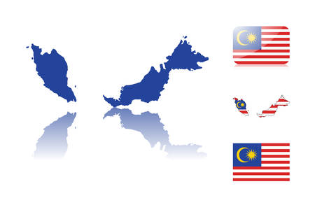 Malaysian map including: map with reflection, map in flag colors, glossy and normal flag of Malaysia. Vector