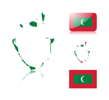 Maldives Map Including: Map With Reflection, Map In Flag Colors ...