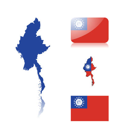 burmese: Burmese map including: map with reflection, map in flag colors, glossy and normal flag of Myanmar. Illustration