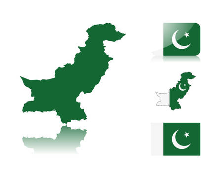 Pakistani map including: map with reflection, map in flag colors, glossy and normal flag of Pakistan.