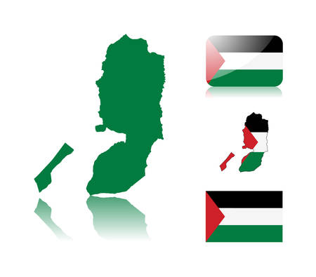 Map of Palestinian territories: map with reflection, map in flag colors, glossy and normal flag of Palestine. Vector