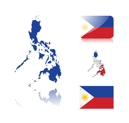 Philippine map including: map with reflection, map in flag colors, glossy and normal flag of the Philippines. Vector