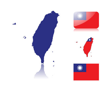 Taiwan map including: map with reflection, map in flag colors, glossy and normal flag of Taiwan. Illustration