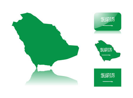 saudi: Saudi Arabian map including: map with reflection, map in flag colors, glossy and normal flag of Saudi Arabia.