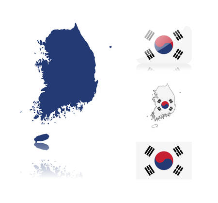 South Korean map including: map with reflection, map in flag colors, glossy and normal flag of South Korea. Vector