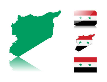 Syrian map including: map with reflection, map in flag colors, glossy and normal flag of Syria. Vector