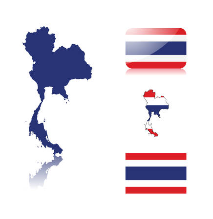 Thailand map including: map with reflection, map in flag colors, glossy and normal flag of Thailand . Illustration