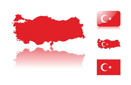 Turkish map including: map with reflection, map in flag colors, glossy and normal flag of Turkey. Vector