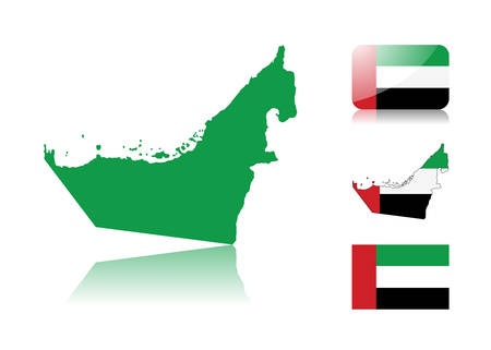 United Arab Emirates map including: map with reflection, map in flag colors, glossy and normal flag of United Arab Emirates.