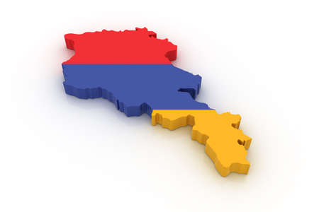 armenian: Three dimensional map of Armenia in Armenian flag colors.