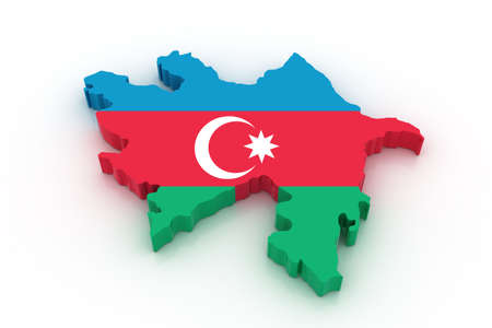 azerbaijan: Three dimensional map of Azerbaijan in Azerbaijan flag colors. Stock Photo