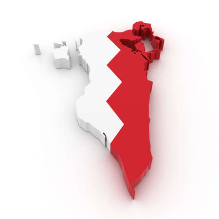Three dimensional map of Bahrain in Bahrain flag colors.