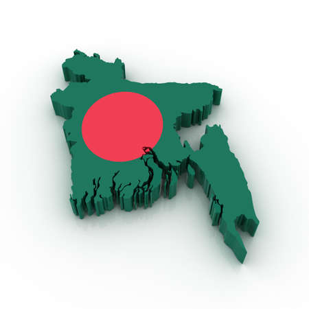 Three dimensional map of Bangladesh in Bangladesh flag colors. photo