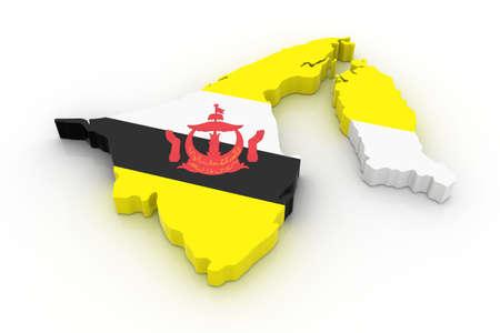 geografia: Tres mapa tridimensional de Brunei en colores de la bandera de Brunei.  Foto de archivo